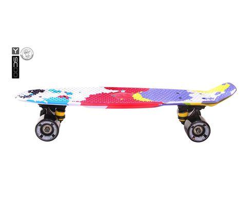 "401G-Sp Скейтборд Y-SCOO Fishskateboard Print 22"" винил 56,6х15 с сумкой Splatter"
