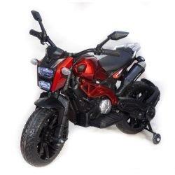 Детский электромотоцикл Harley Davidson - DLS01 красный глянцевый (колеса резина, кресло кожа, ручка газа, музыка, свет)